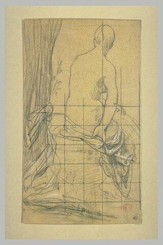 Femme nue assise près d'un arbre, vue de dos, le bras du corps recouvert...