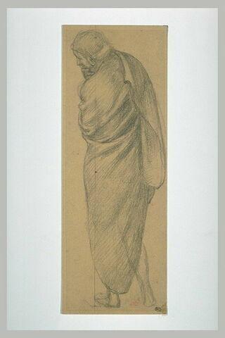 Homme drapé, vue de dos, de trois quarts à gauche, le menton dans la main