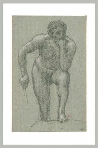 Homme nu penché en avant, le menton appuyé sur le poing gauche, la jambe...
