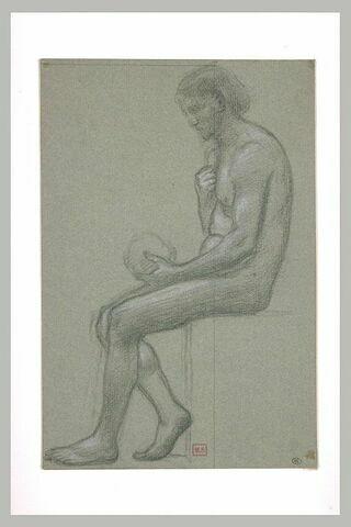 Homme nu assis, de profil à gauche, tenant un crâne dans sa main gauche