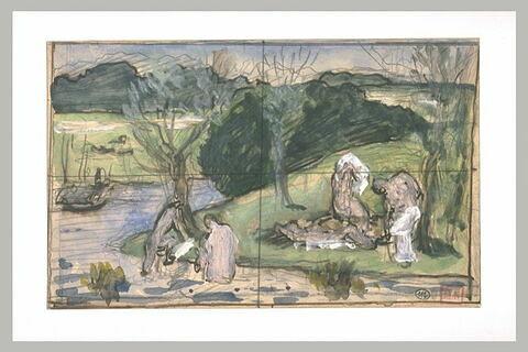 Femmes se baignant dans une rivière