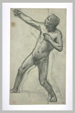 Homme nu tourné vers la gauche, tirant de haut en bas sur une corde