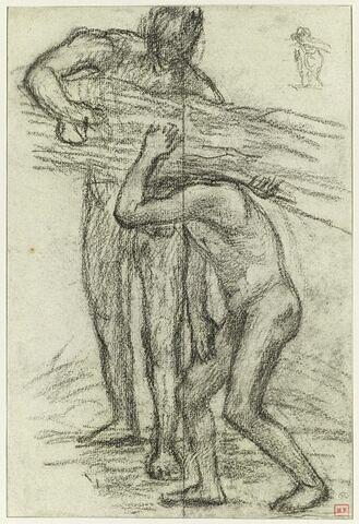 Deux hommes nus, l'un chargeant un fagot sur l'épaule de l'autre