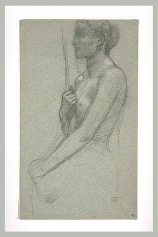 Femme nue à mi-corps de profil à gauche, tenant une lance et un bouclier
