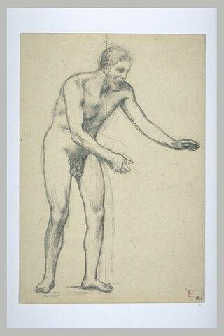 Homme nu, tourné de trois quarts à droite, penché en avant, les bras tendus