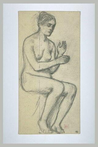 Femme nue assise, de trois quarts à droite, les mains levées