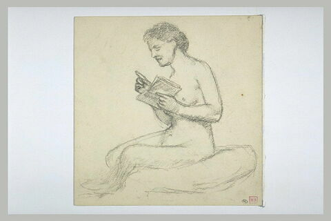 Femme nu assise, de profil à gauche, tenant un livre