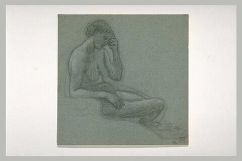 Femme nue assise, de profil à droite, la main gauche contre le front