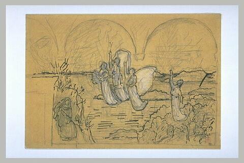 Figures drapées volant dans un paysage, avec esquisse de décor à arcades