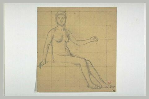 Femme nue assise, le corps tourné vers la droite, le bras gauche levé