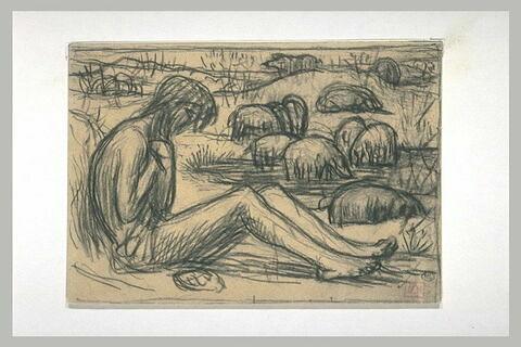 Jeune homme nu assis à terre, de profil à droite, dans un paysage...