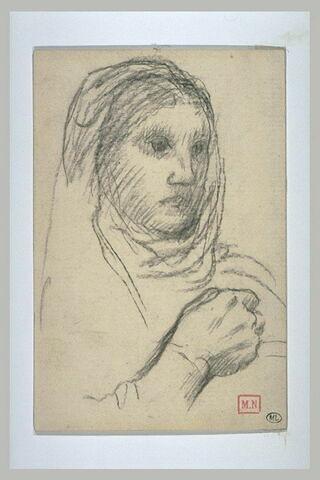 Femme nue en buste, la tête drapée, de trois quarts à droite