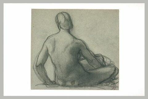 Femme assise à terre, vue de dos
