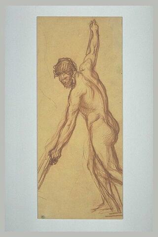 Homme nu, tourné vers la gauche, poussant sur une perche