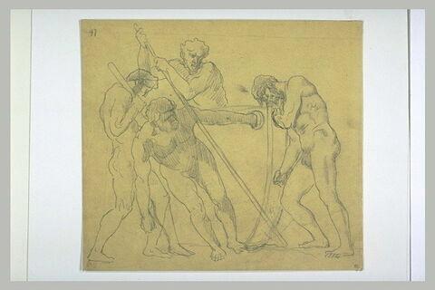Quatre hommes nus, dont deux s'appuyant sur des leviers déplaçant une barque