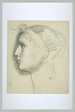 Tête de femme coiffée d'un chignon, de profil à gauche. Petite esquisse