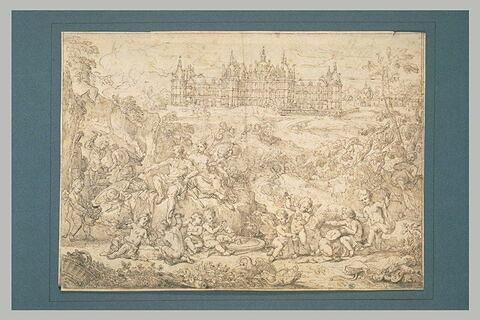 Vulcain faisant forger des armes pour Vénus, devant le château de Chambord