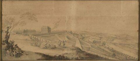 Vue de l'aqueduc de Marly et du château de Bellevue prise du côté de la glacière