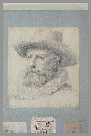 Tête d'homme barbue, coiffé d'un grand chapeau