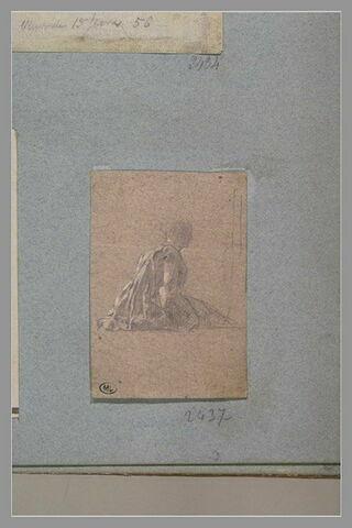 Femme assise par terre d'après Watteau