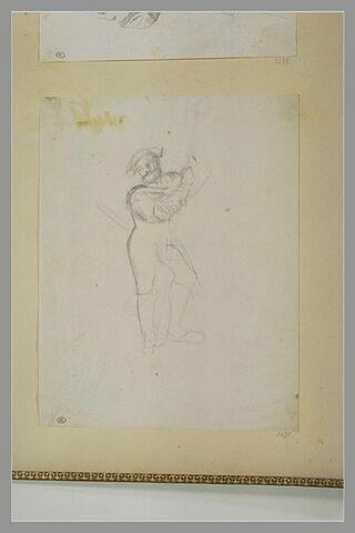 Portrait d'homme, debout, appuyé sur une lance