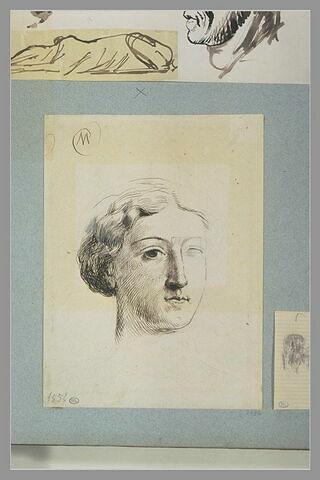 Portrait de femme, vue de trois quarts, inachevée