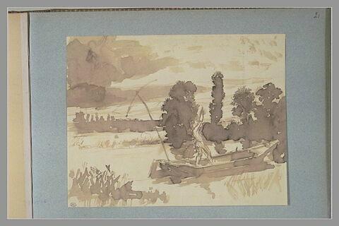 Figure guidant une barque plate dans un marais