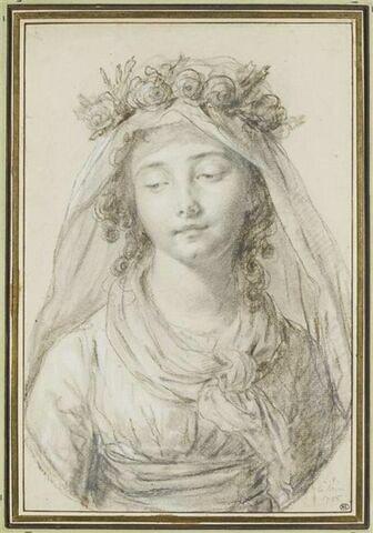 Jeune fille couronnée de fleurs portant un voile