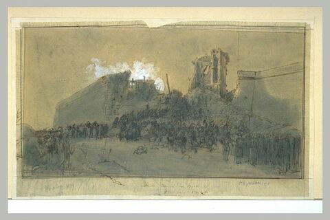 Soldats s'engageant dans une brèche, lors du siège de Rome