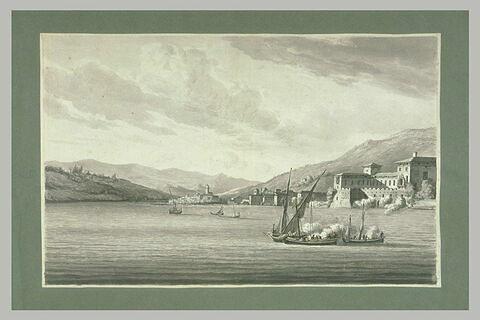 Des barques autrichiennes attaquant le château de Salo, 27 juillet 1796