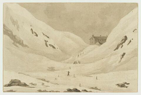 Vue de l'hospice du Mont Saint-Bernard