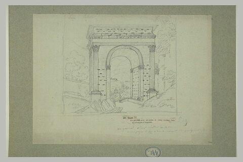 Vue de l'arc de triomphe d'Auguste à Suse