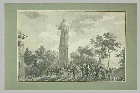 L'Impératrice Josephine et sa suite visitant la statue de saint Charles Borromée à Arona