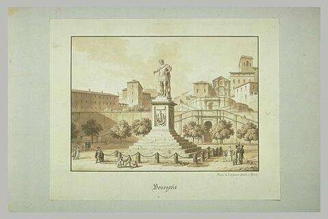 La statue d'un empereur romain à Gênes