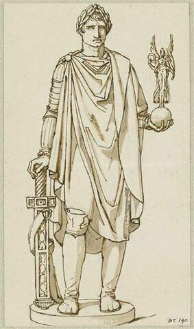 Napoléon victorieux portant la toge romaine, et une Victoire ailée