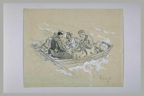 Projet d'illustration : trois hommes et une femme dans une embarcation