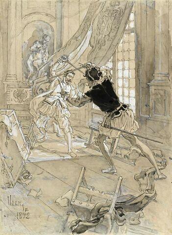 Projet d'illustration : scène de duel à l'épée