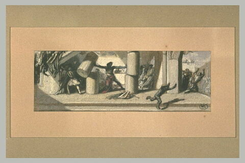 Vie de Samson : Samson renversant les colonnes du temple des Philistins