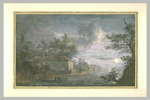 Maisons au bord d'une rivière avec effet de lune