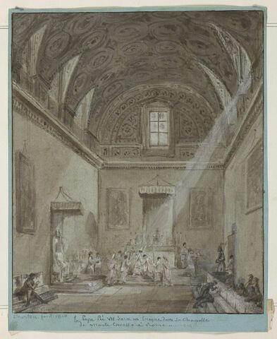 le Pape Pie VIII sacre un évêque dans sa chapelle de Monte Cavallo à Rome
