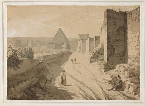 Les murs de Rome, la porte Saint Sébastien et la pyramide de Cestius