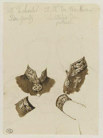 Costumes du chevalier de Gentz et de M. de Wacken, secrétaires du Protocole