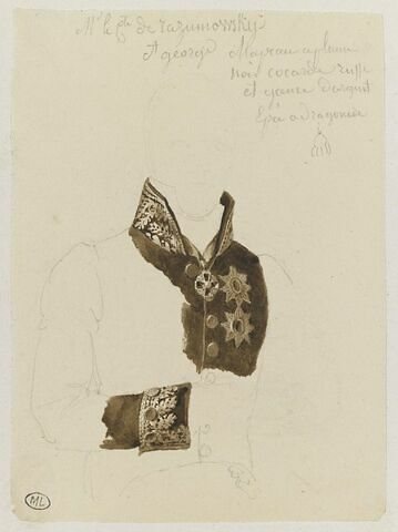 Costume du comte de Razumowsky et broderie