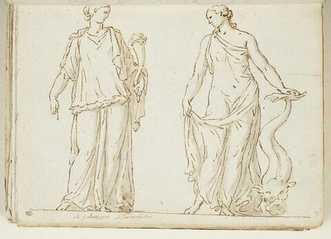 Deux femmes debout, vues de face ; la première, à gauche tient une corne...