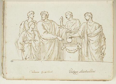 Quatre hommes en toge et un cinquième plus jeune entourant un autel...