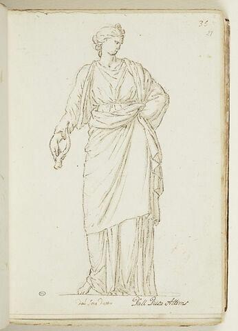 Femme debout, drapée, vue de face, tenant une corne dans la main droite...