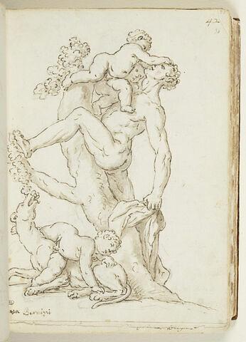 Homme taquiné par deux amours, avec une lionne mangeant du raisin...