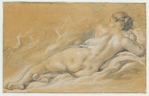Académie de femme nue, couchée, vue de dos