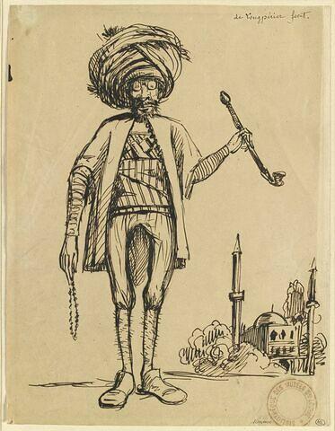 Portrait-charge de Mérimée, pendant son voyage en Orient