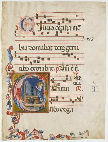 Sainte Cécile et trois moines jouant de l'orgue